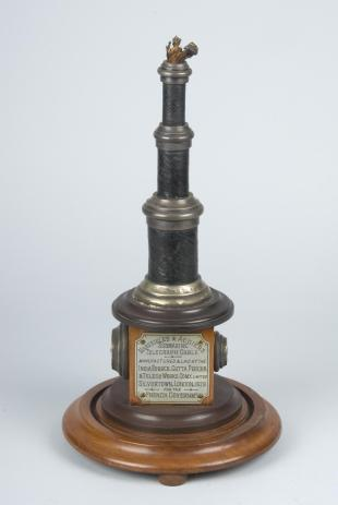 presentation trophy of three submarine telegraph cable sections