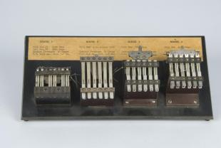 comparative display of relays for Harvard Mark I-IV computers
