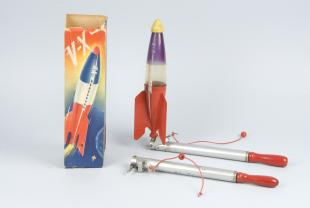 toy rocket launcher and model rocket