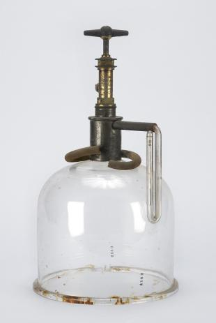 bell jar with brass stopcock and mercury manometer