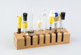 samples for NMR experiments in wood rack