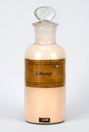 "stoppered glass bottle of ""Litharge"""