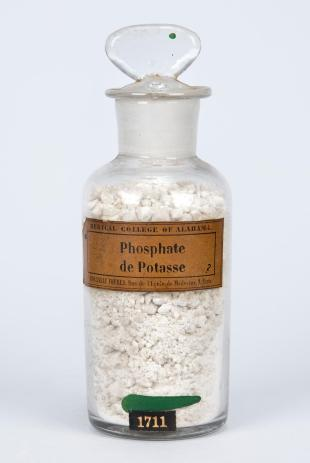 "stoppered glass bottle of ""Phosphate de Potasse"""