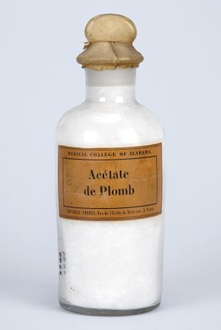 "stoppered glass bottle of ""Acétate de Plomb"""