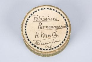 cardboard canister of potassium permanganate