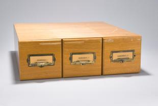 lantern slides on thermodynamics in three drawer wooden cabinet