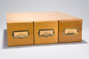 lantern slides on acoustics and nuclear physics in three-drawer wooden cabinet