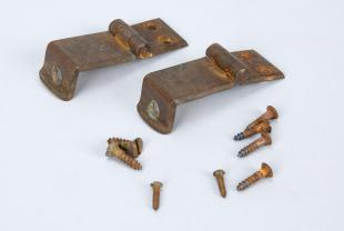 hinges and screws (2 hinges and 8 small screws)