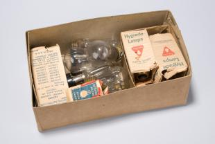 box of assorted electric light bulbs