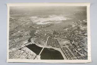 black-and-white aerial photograph of Boston