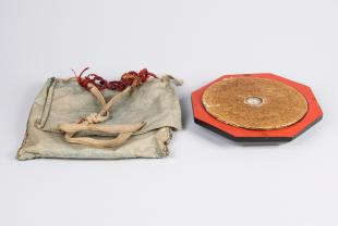 Geomancer's compass, wooden with cloth case