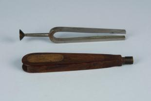 steel tuning fork in fitted wooden case