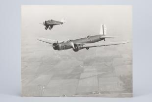 photograph of U.S. Army bomber and pursuit airplanes taken from the air