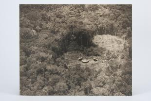 aerial photograph of hut and clearings in rainforest in Rio Parima