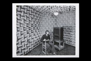 photograph of S. S. Stevens in the smaller anechoic chamber
