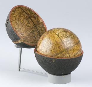 3-inch pocket terrestrial globe in case lined with celestial hemispheres