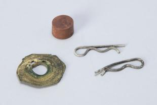 five miscellaneous parts possibly for Beall's compass deviascope