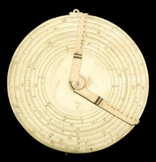 circular slide rule with Oughtred-type sundial reverse)