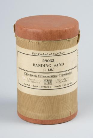 canister of banding sand for Chladni plates